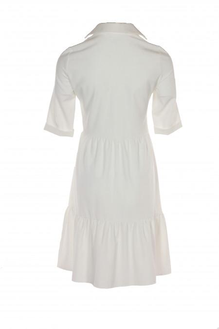 Купить белое платье с оборками. Деловая женская одежда фото