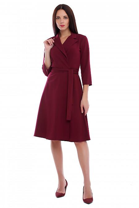 Купить платье бордовое на запах. Деловая женская одежда фото