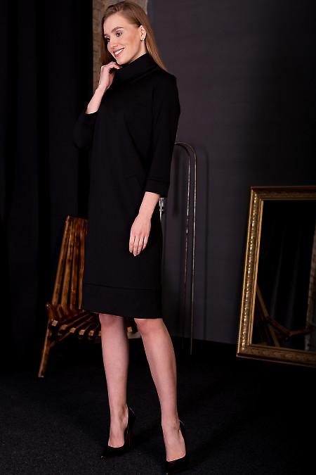 Сукня чорна з манжетом. Діловий жіночий одяг фото