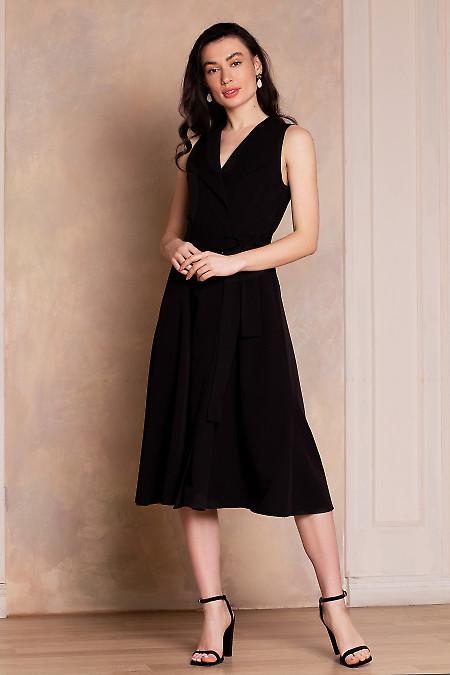 Платье чёрное на запах с воротником. Деловая женская одежда фото