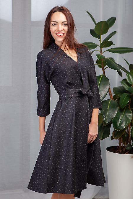 Платье чёрное в серые галочки. Деловая женская одежда фото
