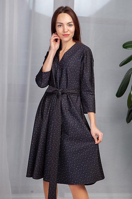 Купить платье чёрное в серые галочки. Деловая женская одежда фото