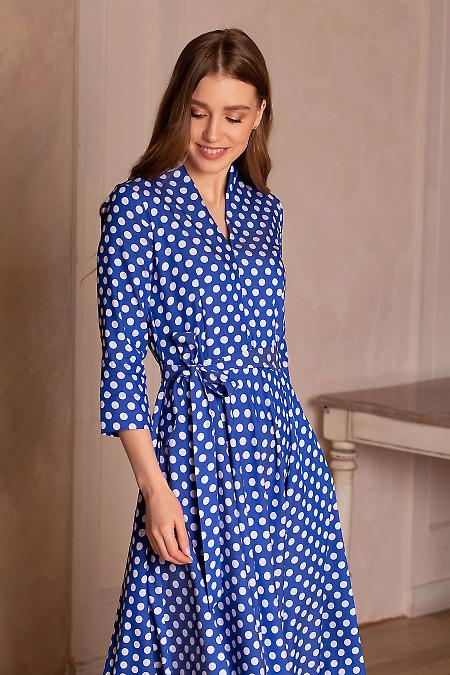 Купить платье голубое в горох с рукавом. Деловая женская одежда фото