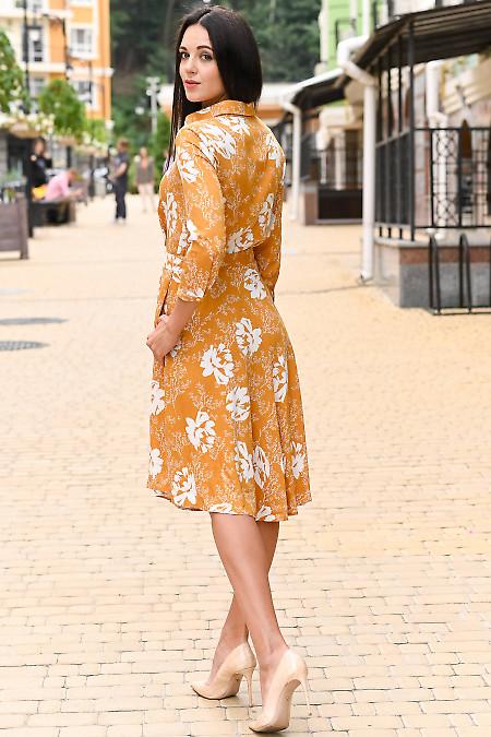Купить праздничное горчичное платье. Деловая женская одежда фото