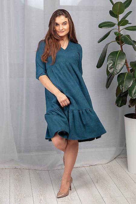 Замшевое нарядное платье цвета морской волны фото