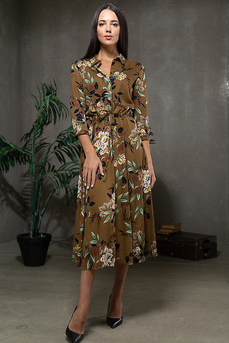 Платье коричневое в желтый листок. Деловая одежда