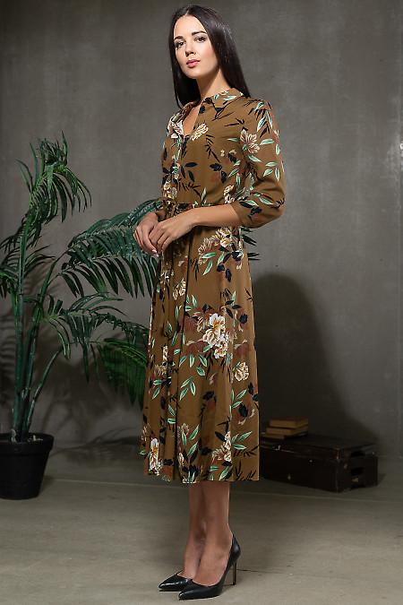 Коричневая женское платье фото