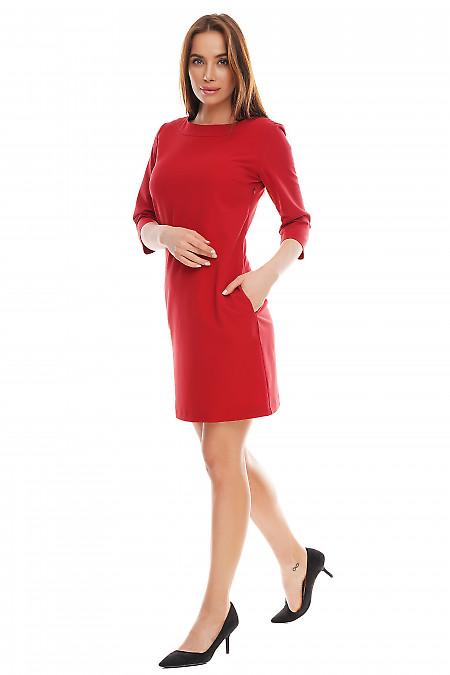 Платье красное короткое с карманами. Деловая женская одежда фото