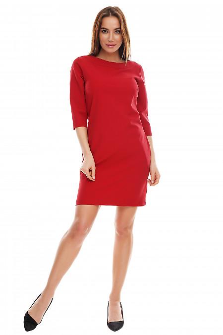 Купить платье красное короткое с карманами. Деловая женская одежда фото