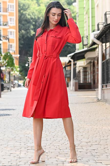 Платье красное с чёрными пуговицами. Деловая одежда