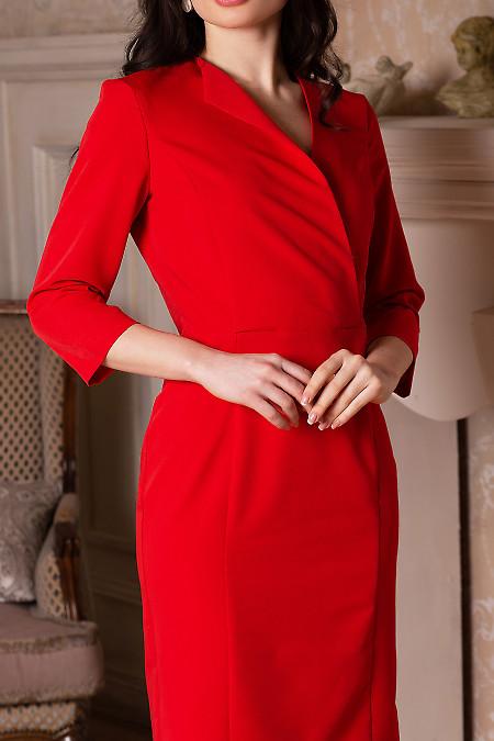 Купить платье красное с односторонним воротником. Деловая женская одежда фото