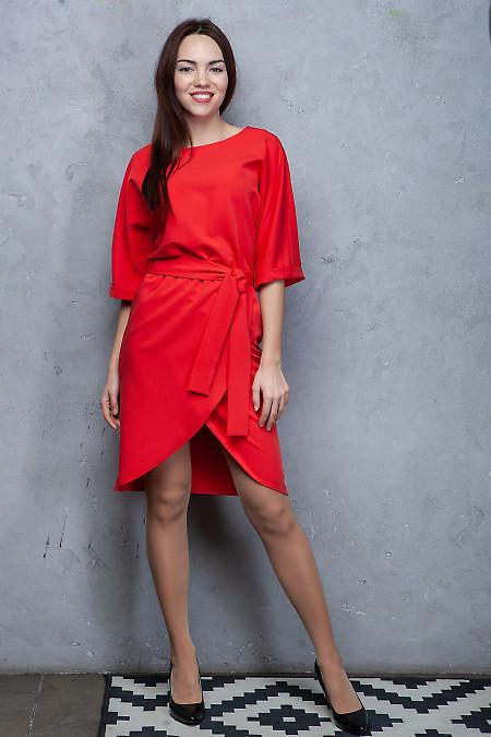 Купить платье красное с юбкой на запах. Деловая женская одежда фото