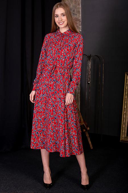 Сукня червона в сині квіти. Діловий жіночий одяг