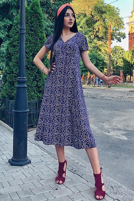 Платье летнее в бордовый цветок. Деловая женская одежда
