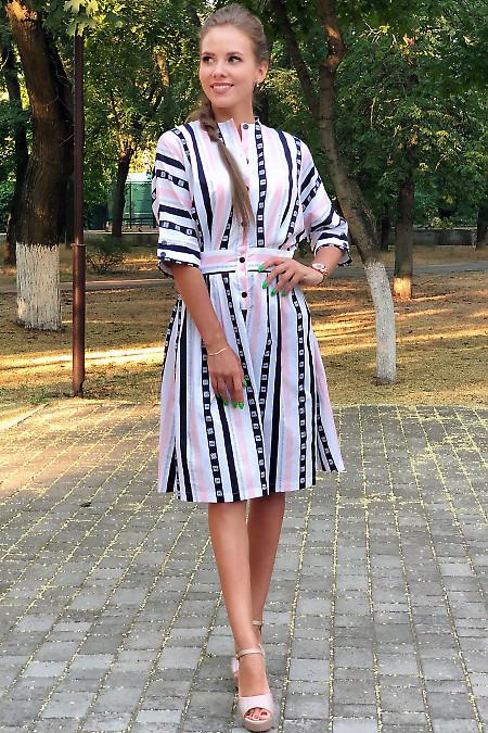 Купить платье летнее в розово-синюю полоску. Деловая женская одежда фото