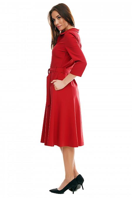 Купить бордовое платье миди. Деловая женская одежда фото