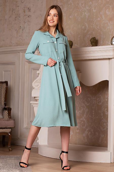 Платье мятное под пояс. Деловая женская одежда фото