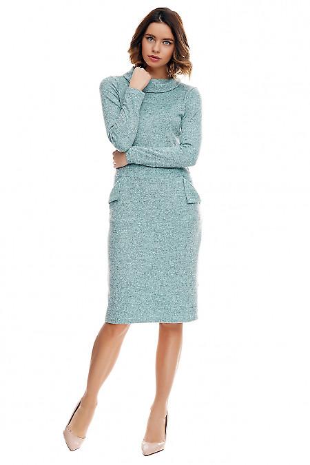 Платье мятное тёплое с клапанами на карманах