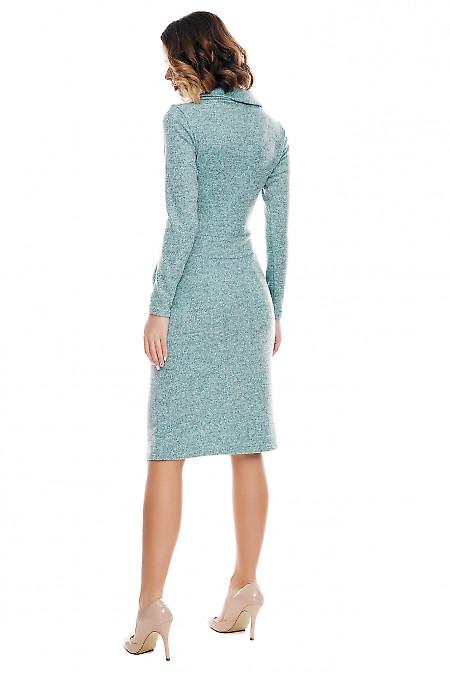 Теплое мятное платье