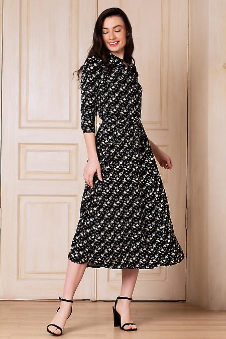 Платье на кулисе чёрное в цветок. Деловая женская одежда фото