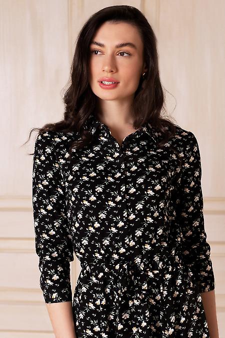 Купить платье на кулисе чёрное в цветок. Деловая женская одежда фото