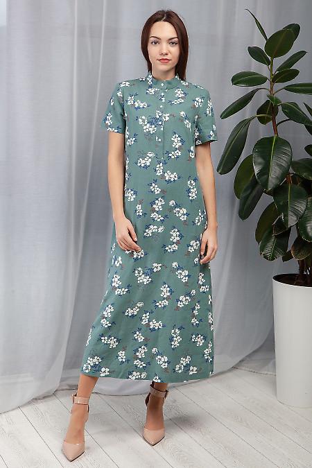 Платье оливковое из льна. Деловая женская одежда фото