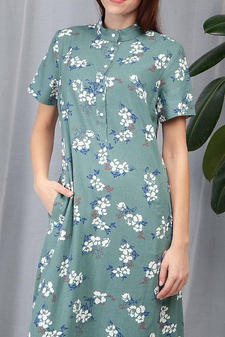 Купить платье оливковое из льна. Деловая женская одежда фото
