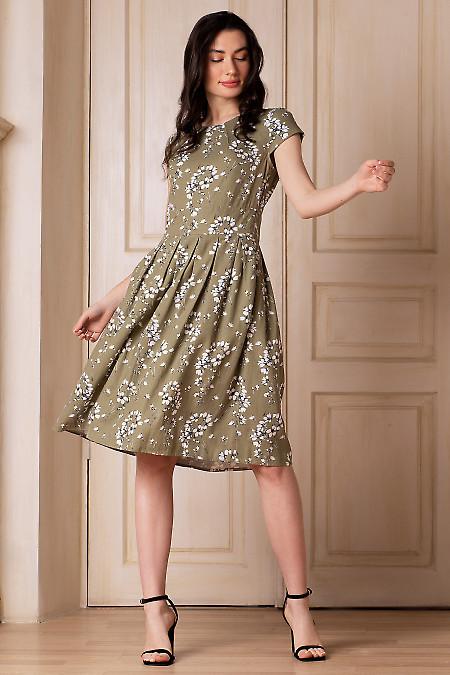 Купить платье оливковое с защипами. Деловая женская одежда фото