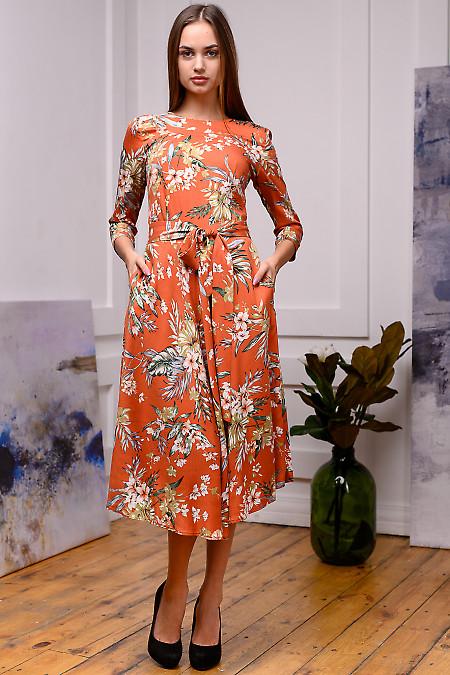 Платье рыжее в крупный цветок. Деловая женская одежда