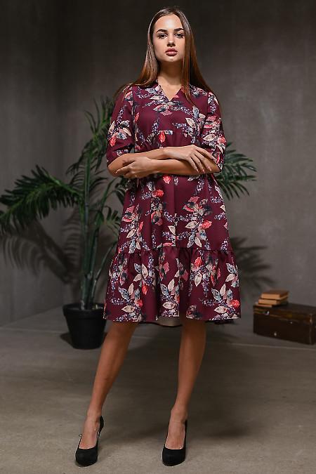 Платье с оборками бордовое. Деловая женская одежда
