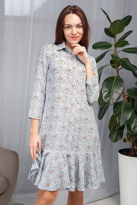 Платье с оборкой в голубые цветы. Деловая женская одежда