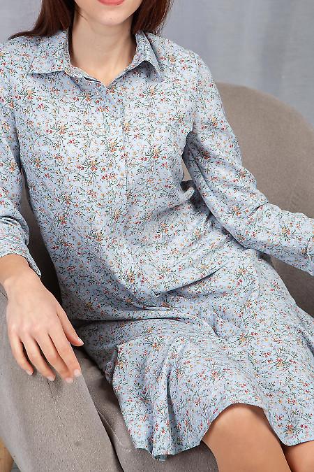 Купить платье с оборкой в голубые цветы. Деловая женская одежда фото