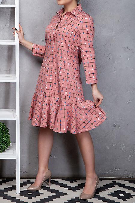 Купить платье с оборкой в клетку. Деловая женская одежда фото