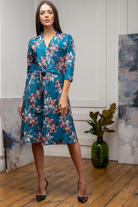 Платье с поясом бирюзовое в листья. Деловая одежда