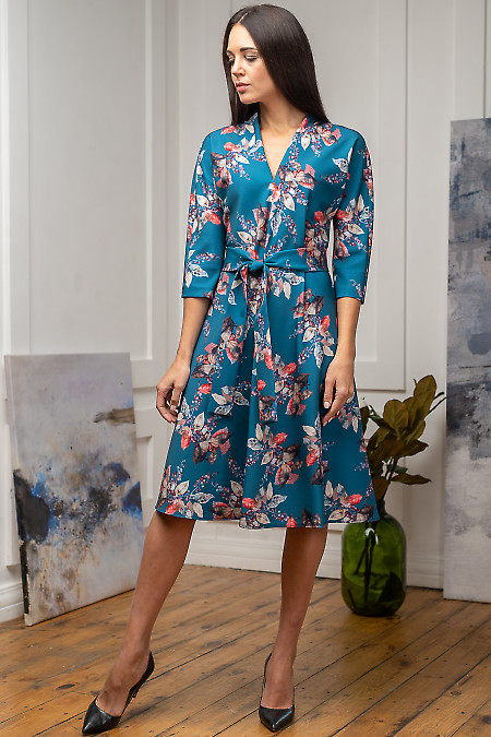 Женское бирюзовое платье