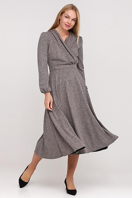 Платье серое на запах Деловая женская одежда фото