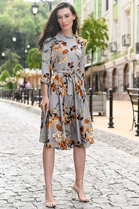 Платье серое в коричневые цветы. Деловая женская одежда