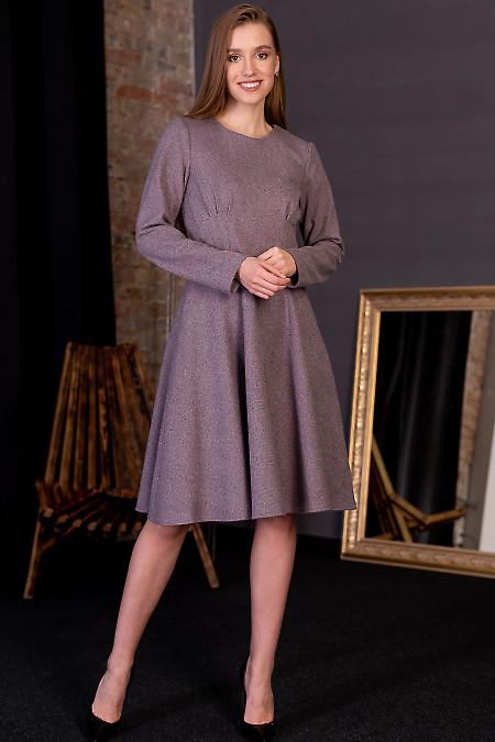 Сукня сіра в бузкову ялинку. Діловий жіночий одяг