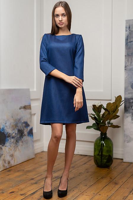 Платье синее нарядное утепленное. Деловая женская одежда