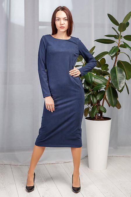 Платье синее прямое длиной миди. Деловая женская одежда фото
