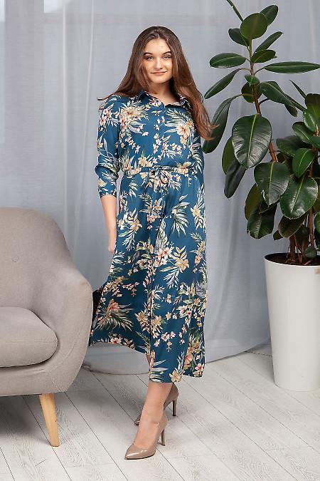 Платье синее с кулисой в цветы. Деловая женская одежда фото