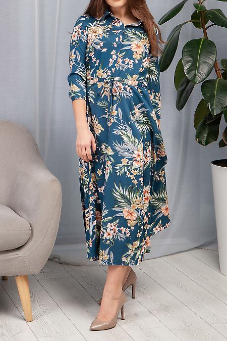 Купить платье синее с кулисой в цветы. Деловая женская одежда фото