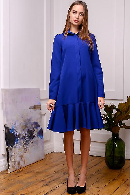 Платье синее с планкой и оборкой. Деловая женская одежда