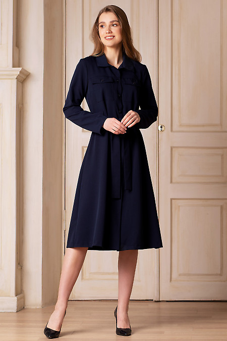 Купить платье синее с пуговицами. Деловая женская одежда фото