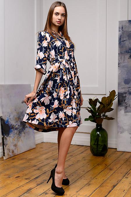 Платье синее в белые лилии. Деловая женская одежда