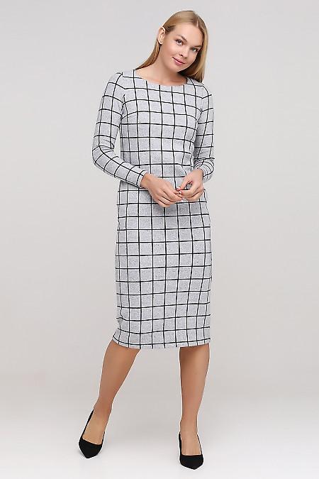 Платье теплое серое в крупную клетку Деловая женская одежда фото