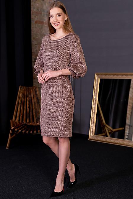 Сукня тепла в рожеву ялинку. Діловий жіночий одяг