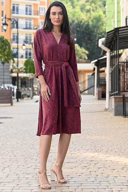 Платье трапеция бордового цвета. Деловая женская одежда