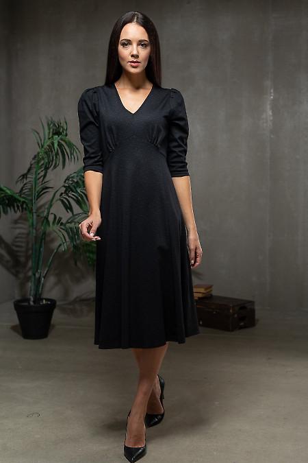 Платье трикотажное чёрное в узор серый. Деловая одежда