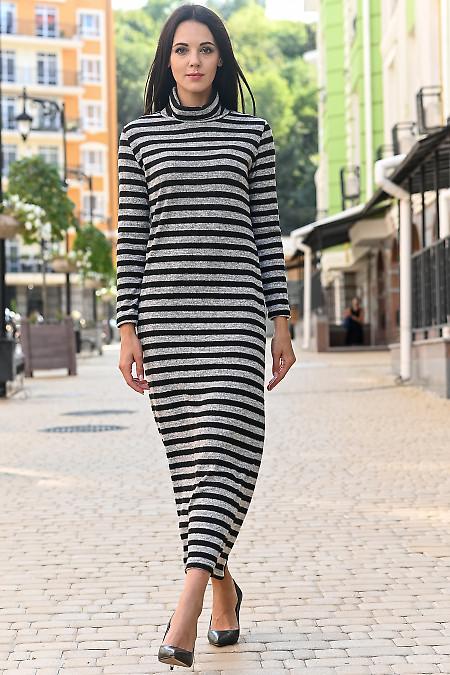 Платье тёплое серое в чёрную полосу. Деловая одежда